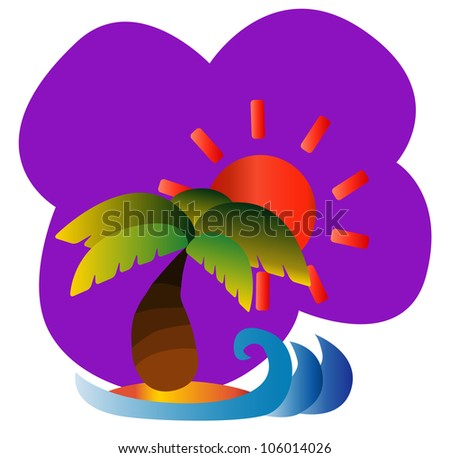 Illustration - Vacation.Summer holiday.The modern symbol of holiday in summer. - stock photo