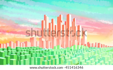 Illustration views of the city skyline background