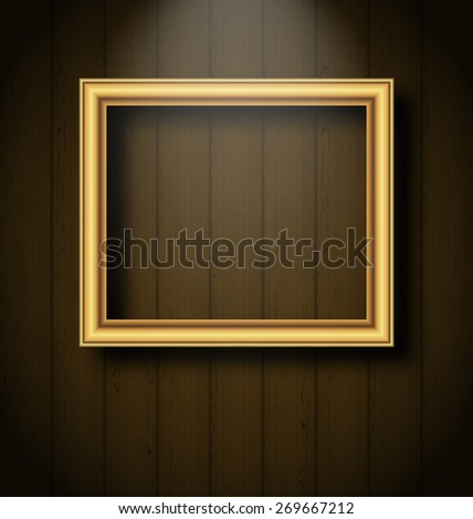 Illustration vintage picture frame on wooden wall - raster - stock photo