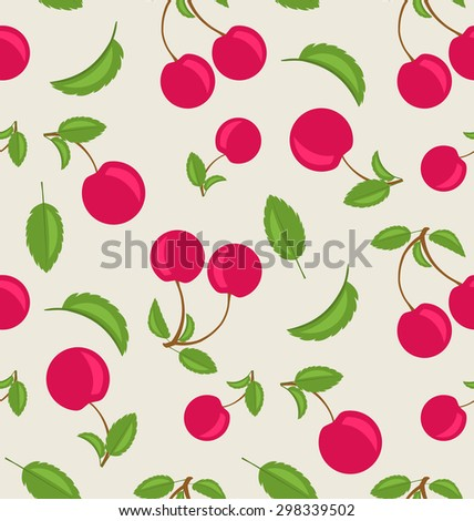 Illustration Vintage Seamless Wallpaper of Cherries with Green Leaves - raster - stock photo