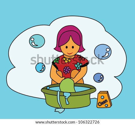 Illustration - Washing.The girl washing clothes with her hands. - stock photo