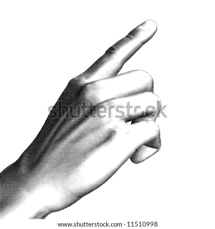 Illustration white and black hand pointing finger