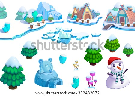 Illustration: Winter Snow Ice World Theme Elements Design Set 1. Game Assets. The House, The Tree, Ice, Snow, Snowman. Realistic Cartoon Style Elements / Illustrations / Objects / Game Assets Design.  - stock photo
