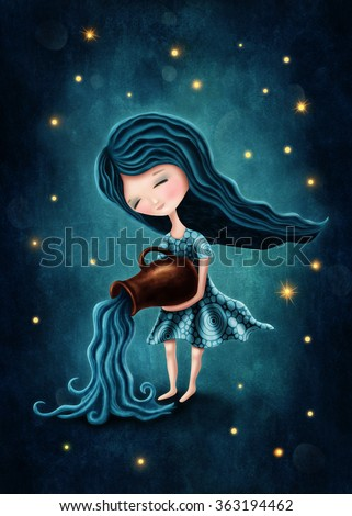 Illustration with a aquarius astrological sign girl - stock photo