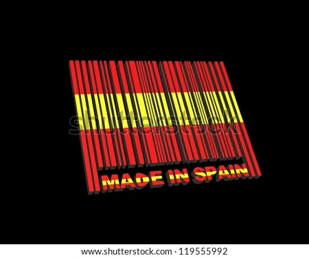 Illustration with a barcode made in Spain. - stock photo