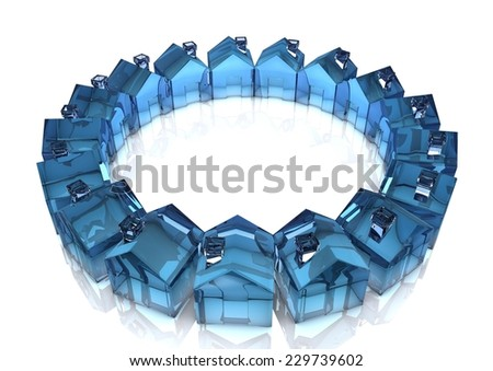 Illustration with a circle of small houses. - stock photo