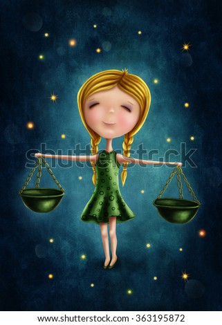 Illustration with a libra astrological sign girl - stock photo