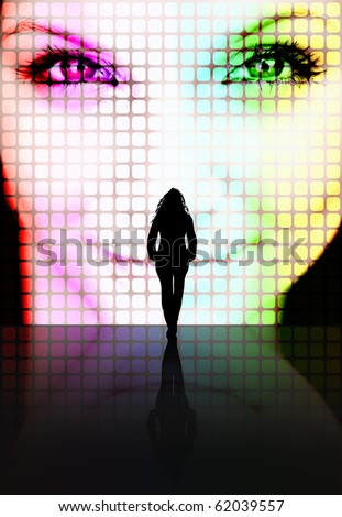 Illustration with a silhouette of a woman looking at another pretty woman's face on a screen. - stock photo