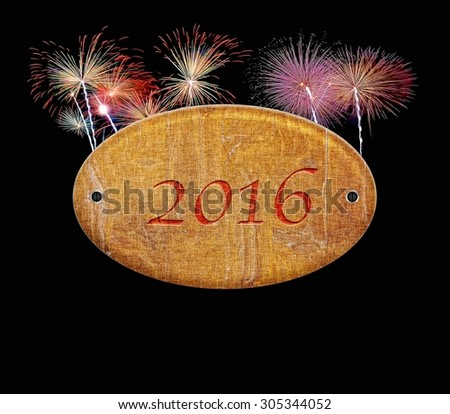 Illustration with a wooden sign of 2016 fireworks. - stock photo