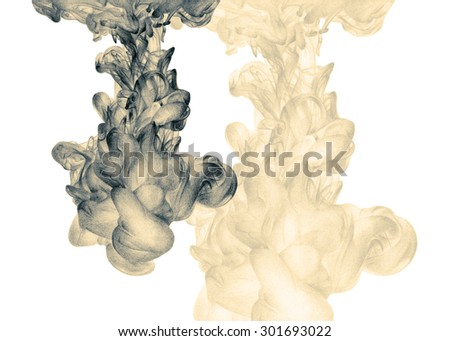 Illustration with abstract cloud of ink drawn by hand with colored pencils. Watercolor in water. Holi. Liquid ink. Pencil drawing. Background for poster, web design, wallpapers. Black and white - stock photo