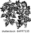 illustration with black on white flower decoration - stock photo