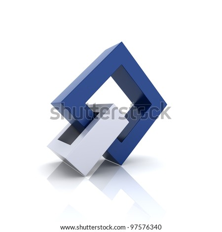 Illustration with blue and metallic frames (unity symbol) - stock photo