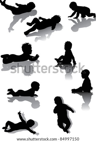 illustration with body silhouettes collection isolated on white background
