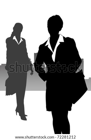 Illustration with business women in the big city - stock photo