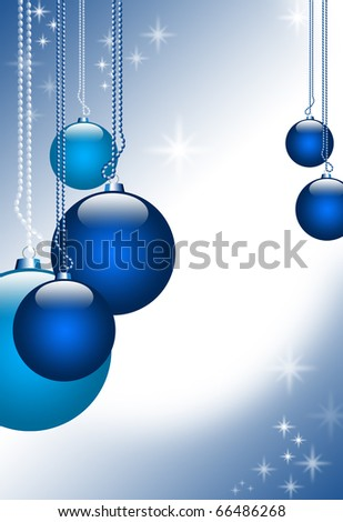 Illustration with Christmas spheres on a blue abstract background with glittering stars and empty space for text