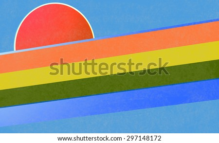 Illustration with concept of a rainbow with the sun rising