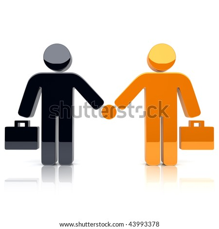 Illustration with concept of partnership (black and orange)