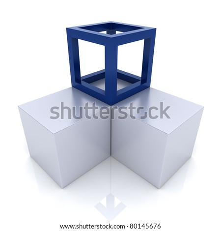 Illustration with cubes union concept (blue collection) - stock photo
