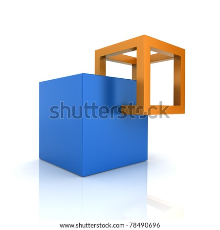 Illustration with cubes union concept (color collection) - stock photo