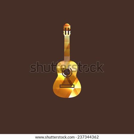 illustration with diamond guitar icon. logo design - stock photo