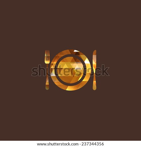 illustration with diamond plate, fork and knife. restaurant logo - stock photo