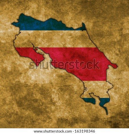 Illustration with flag in map on grunge background - Costa Rica - stock photo