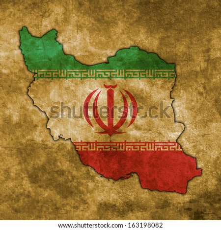 Illustration with flag in map on grunge background - Iran - stock photo