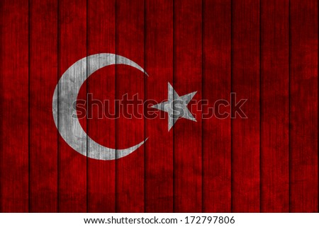 Illustration with flag in map on grunge background - Turkey - stock photo