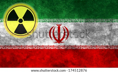 Illustration with flag on grunge background with nuclear sign - Iran - stock photo