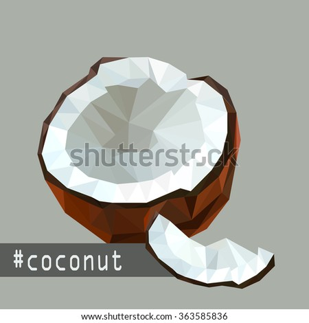 Illustration with flat origami design of coconut fruit