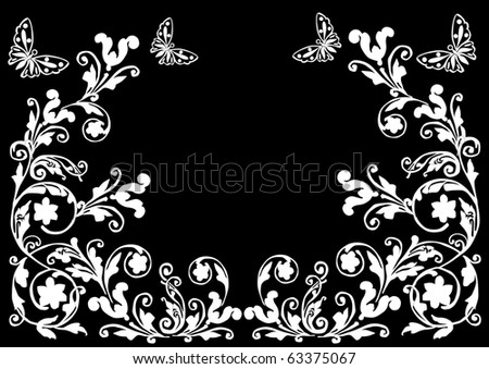 illustration with flowers and butterflies on black background