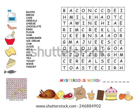 Illustration with game for children : crossword - stock photo