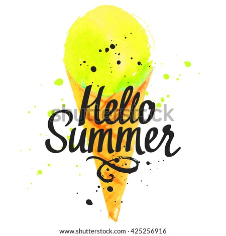 Illustration with ice cream in a cone. Hello summer. Poster with fruit ice cream.  Illustration with lemon flavor sorbet. Sweet Popsicle. - stock photo