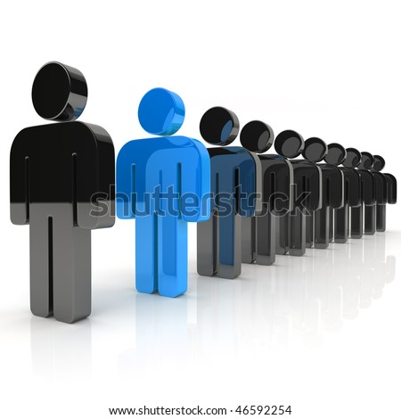 Illustration with many businessmen and unique blue businessman - stock photo
