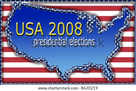 illustration with map of united states for 2008 presidential elections - stock photo
