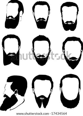 illustration with men beard collection isolated on white background