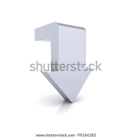 Illustration with metallic arrow symbol download(silver) - stock photo