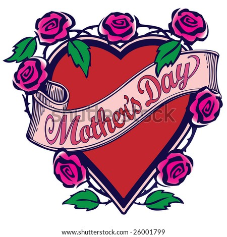 "Illustration with ""Mother's Day"" text on a scroll overlaying a red heart surrounded by pink roses with green leaves in a Tattoo style design. - stock photo"