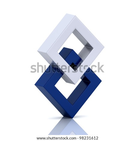 Illustration with orthogonal rhomb symbols (unity concept) - stock photo