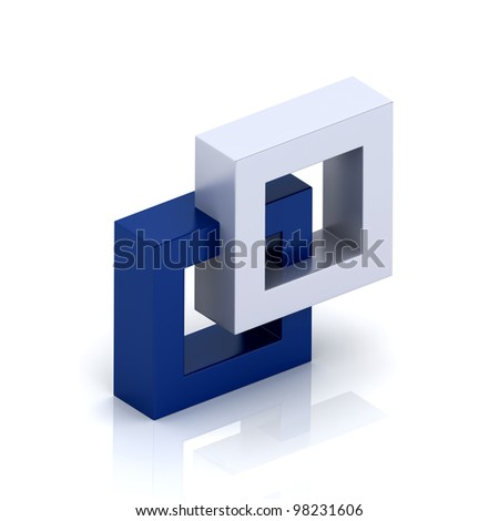 Illustration with orthogonal symbol of two frames (unity concept) - stock photo