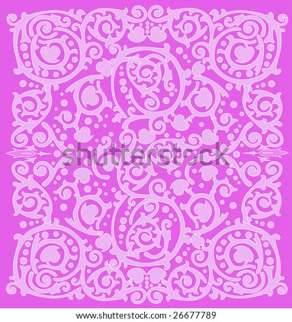 illustration with pink ornamental background