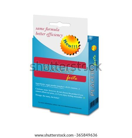 Illustration with placebo medication box on white background - stock photo