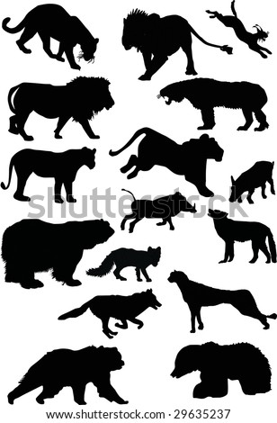 illustration with predator silhouettes collection isolated on white background - stock photo