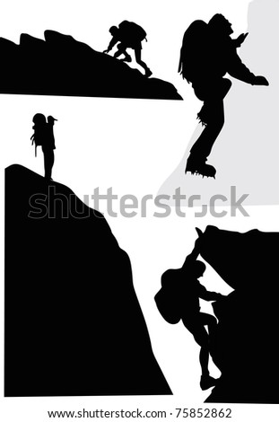 illustration with rock climbers isolated on white background - stock photo