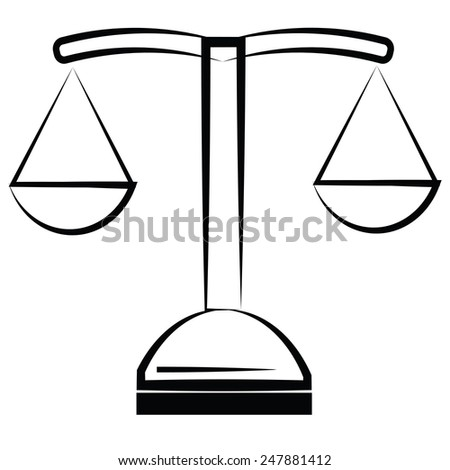 illustration  with scale icon on white  background - stock photo