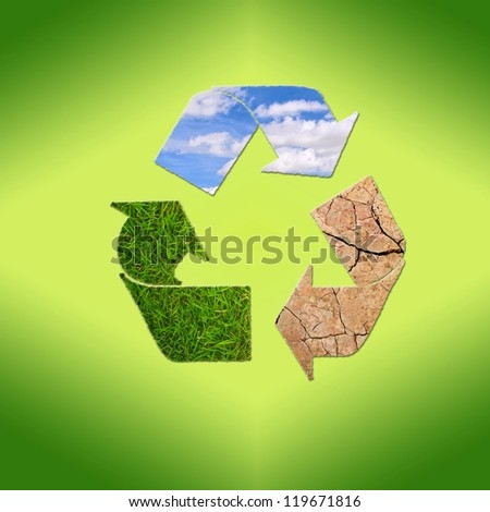 Illustration with sign recycle planet on  green background.