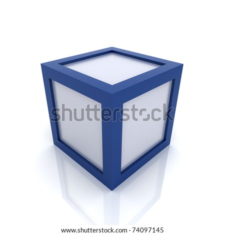 Illustration with silver cube with blue borders - stock photo