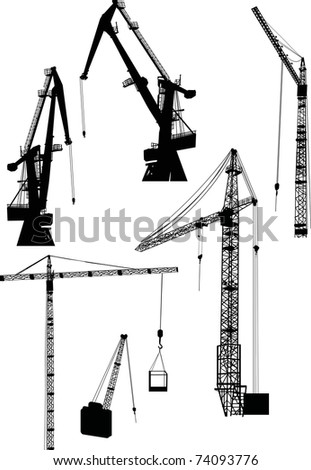 illustration with six building cranes isolated on white background