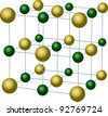 illustration with sodium chloride crystal structure - stock photo