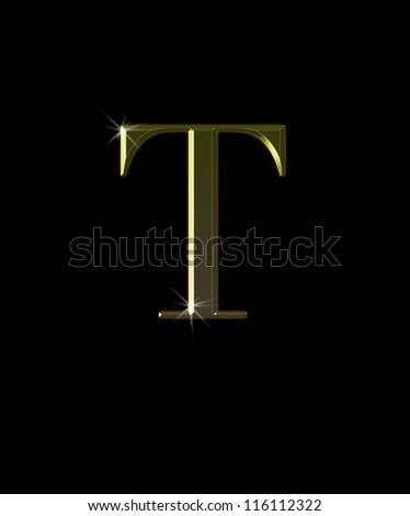Illustration with T letter in gold on black background. - stock photo